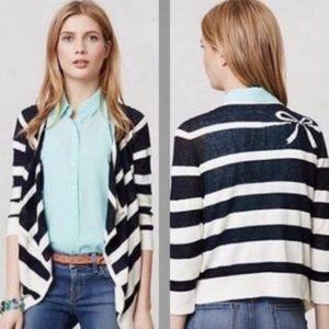 Anthropologie Moth Linen Stripe Cardigan Sweater